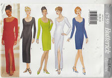 Butterick 4739 Dress Evening Bridal Daytime Close Fit Straight Sewing Pattern