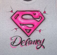 SUPERGIRL AIRBRUSHED PERSONALIZED T SHIRT YOUTH AND ADULT SIZES SUPER GIRL