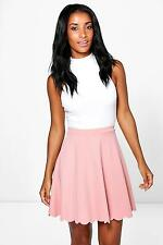Boohoo Womens Bella Scuba Scalloped Hem Skater Skirt