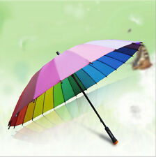 24 Colors Rainbow Long Umbrella Super Windproof Rain-proof Umbrella Parasol 24k