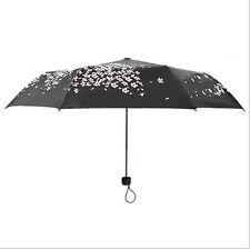 Fashion Sakura Umbrella Windproof Anti UV Sun/Rain Fold Cherry Blossom Parasol