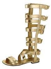Mid Gold Leatherette Awesome Urban Knee High Gladiator Adjustable Calf Sandals