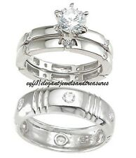3 Day Sale His Hers 3pc Cz Engagement Wedding Ring Band Set 925 Sterling Silver
