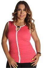 DEALZONE Ruched Two Tone Keyhole Top 1X 2X Women Plus Size Pink Casual