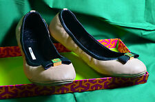 New In Box Tory Burch Eddie Camellia Pink/Black  Bow Leather Ballet Slipper Shoe