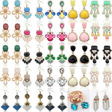 NT Elegant Women Vintage Crystal Gem Rhinestone Flower Dangle Ear Stud Earrings