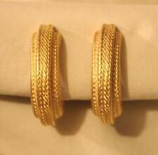 Classy Large Rope Twist Accented Curved Hoops Goldtone CLIP Earrings