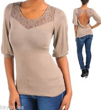 Tan/Light Brown Lace Neckline Draping Open Cowl Back 3/4 Sleeve Top