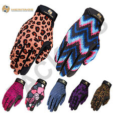 HERITAGE PERFORMANCE RIDING PRINTED GLOVES HORSE EQUESTRIAN SCHOOLING RIDING