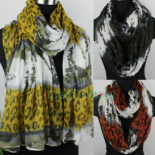 Women Wild Scenery&Animal Print Color Stitching Leopard Long/Infinity Scarf New