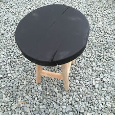 Small wooden stool foot step milking seat coffee table Rustic wood & black seat