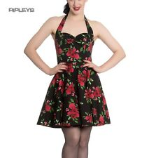 Hell Bunny Black Goth Flowers Mini Dress ANNABELLE Cannes Red Rose All Sizes