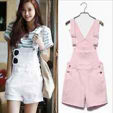 Women Girl Washed Jeans Denim Casual Hole Jumpsuit Romper Overalls Short E160H