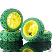 RC HSP 910Y-8019 Wheel Plastic Rim &Rally Green Tires For 1:10 On-Road Rally Car