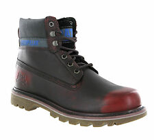 Mens CAT Caterpillar Colorado Opera Red Leather Ankle Fashion Boots Size 6-12