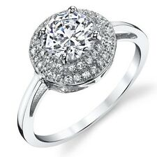 1.25 Round Cubic Zirconia Sterling Silver 925 Engagement Ring