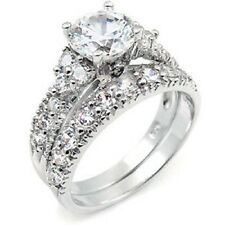 Sterling Silver Cz Wedding Ring Set with an 8MM Round Cz in the Center, Rin 150
