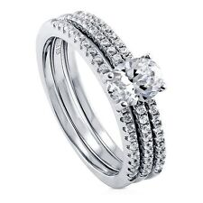Sterling Silver Oval Cubic Zirconia CZ Solitaire Engagement Wedding Stackable R