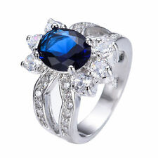 Blue Sapphire Crystal CZ Band Women's 10Kt White Gold Filled Ring Size 5/6/8/10