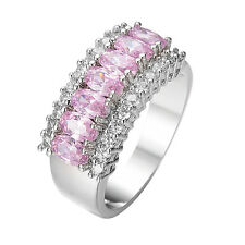 Pink Crystal Zircon Band Women's 10K White Gold Filled Engagement Ring Size 6-12