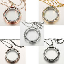 25 MM Living Memory Floating Charm Crystal Glass Round Locket Pendant Necklace