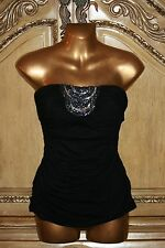 NWT 2b bebe ADRIENNE SEQUIN TUBE TOP Black Strapless Ruched O-ring Back XS or S