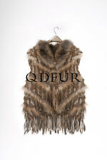 "Ladies Beautiful Rabbit Fur And Raccoon Fur Striped Vest  With ""V"" Pattern Gilet"