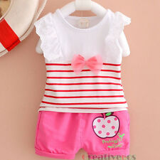 Kids Girls Cute Bowknot Stripes Tops T-shirt Cartoon Short Pants Summer Sets New