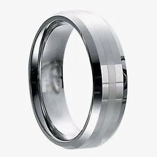 Mens 8mm Wide Tungsten Carbide Band Comfort Fit Ring Beveled Edge Brushed Stripe