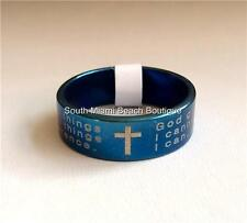 Serenity Prayer Ring Band Blue Stainless Steel NA AA Al-Anon Recovery USA Seller