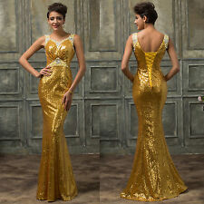 Women's Beaded&Sequins Mermaid Evening Wedding Long Bridesmaid Prom Gown Dresses
