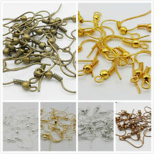 Free Ship 100/1000Pcs Ear Coil Wire Metal Earring Hooks Finding 6 Color