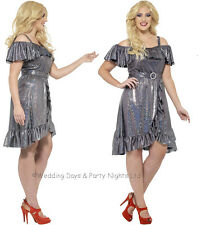 16-30 Plus Size Sparkly Disco Diva Costume 70s 80s Ladies Fancy Dress Outfit