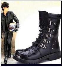 2016 ROCK Fashion Winter Mens Leather PUNK COOL Motorcycle Black ARMY Boot Shoes