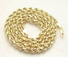 """5mm Diamond Cut Rope Chain Necklace REAL 10K Yellow Gold 20"""" thru 30"""""""