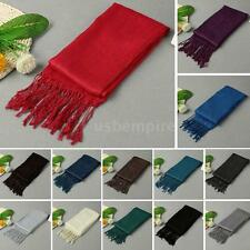 Womens Lady Tassels Silk Long Neck Fashion Shawl Stole Wraps Pashmina Scarf K3X2