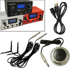 Dual Digital LCD Tattoo Power Supply Machine box Clip cord star Pedal Kit set