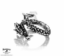Pewter Dragon Wrap Adjustable Ring Alchemy Gothic Vis Viva Swarovski Crystals