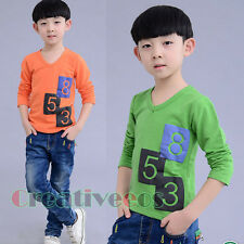Fashion Stylish Kids Toddlers Boys Girls Numaber Plaids 100% Cotton Tops T-Shirt