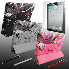 For APPLE iPad4 SLIM PU Leather Smart Cover Case + Stylus + Screen Protector