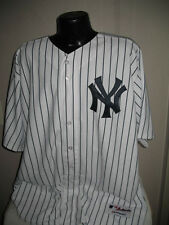 MLB New York Yankees On Field Authentic Home White Pinstripe Jersey Majestic