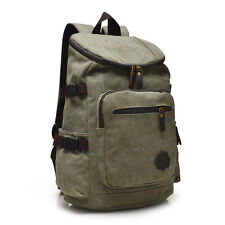 Men's Vintage Canvas Hiking Travel Military Army Backpack Messenger Tote Bag