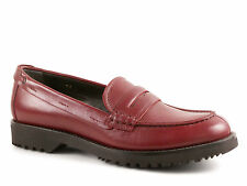 Car Shoe womens burgundy leather penny loafers shoes Made in Italy