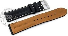 Watch straps-DP-107 Pin buckle Extra padded,Leather,smooth black 20mm