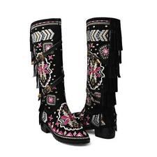 Womens Ethnic Embroider Flower Low Heels Buckle Cowboy Knee High Boots Shoes 9-2