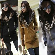New Women Korea Leopard Zip Jacket Coat Warm Sweater Outerwear Hoodie Sweatshirt