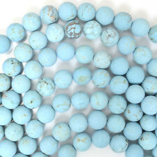 "Matte Blue Turquoise Round Beads Gemstone 15.5"" Strand 4mm 6mm 8mm 10mm 12mm"