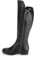 Clarks Licorice Snap Black/Brown Leather knee high riding Boots RRP £140