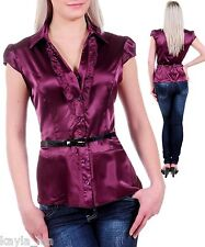 Burgundy Satiny Ruffle Front Cap Sleeve Belted Plus Top