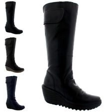 Womens Fly London Yulo Wedge Heel Leather Fashion Knee High Winter Boots US 5-12